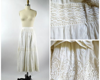 Antique 1900s Petticoat White Cotton Skirt with Beautiful Hand Sewn Eyelet Lace Trim  24 inch Waist Size Small