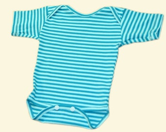 striped organic cotton bodysuit in light blue / turquoise or purple / white