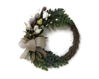 Christmas Wreath-Winter Wreath-Rustic Wreath-Gold Accent Wreath-Front Door Wreath-Holiday Wreath-Home Decor-Christmas Gift-Artificial Fruit