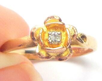 Diamond Ring, Black Hills, Solid 10k Gold, Vintage Rose Gold Ring,Yellow Gold Ring, Diamond Rose Ring