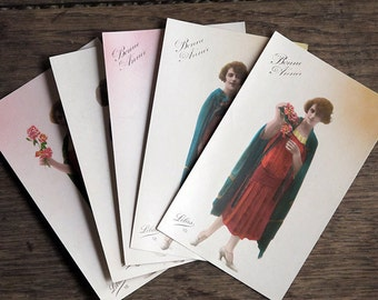 New Year's Card Set - Art Deco set of 5 Antique 1920/20s unwritten Flapper girl postcard lot, Bonne année, Happy new year