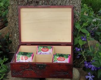 Tea Box, Lichtenberg Figure Tea Bag Storage, Wooden Tea Box, 6 Compartments Wooden Tea Box, Handmade Box, Wooden Storage Box, Wood Box