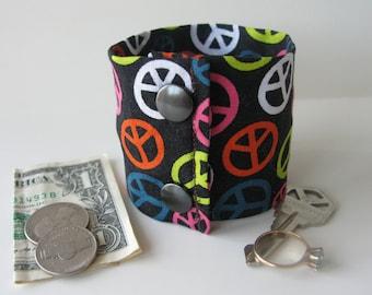 Secret Stash Money Cuff - The Colors of Peace - hide your cash, coins, key, jewels, health info in a secret INSIDE  zipper...