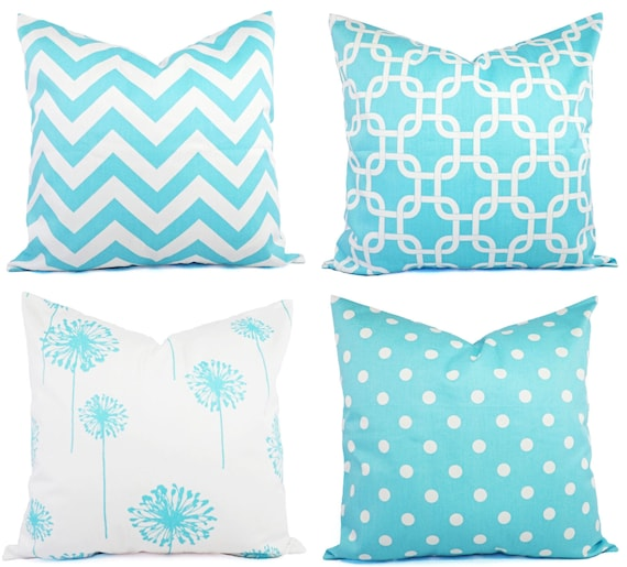 Teal Decorative Throw Pillow Cover Teal And White Pillow