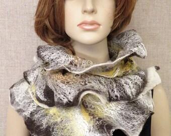 Silk merino wool nuno felted scarf shawl wrap brown yellow animal print wearable art to wear felt accessory apparel statement felt scarf