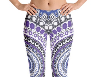 Tribal Style Leggings, Aztec Leggings, Blue and Purple Mandala Leggings, Festival Pants, Yoga Pants, Fashion Tights