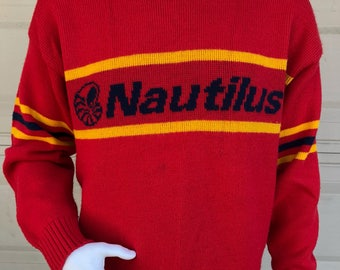 Vintage 80s Red Nautilus Wool Cliff Engle Sweater Large