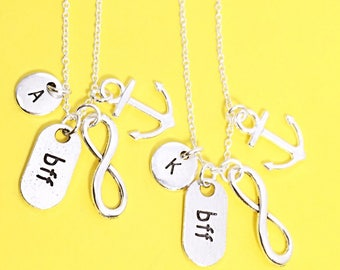 best friend anchor- set of 2 bff, anchor necklace, anchor charm, personalized best friend jewelry, custom bff, birthday gift for best friend
