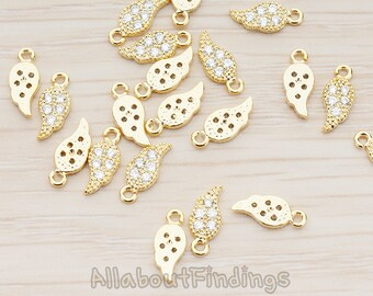 PDT991-G // Glossy Gold Plated Cubic Zirconia Setting Cute Mini Angel Wing Leaf Pendant, 2 Pc