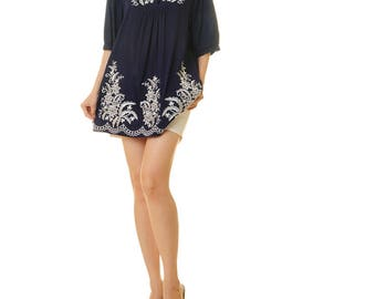 Mexican Tunic | Embroidered Top | Navy Mexican Dress | Embroidered Tunic Top | Boho Top | Embroidered Dress | Peasant Dress 8135/8136