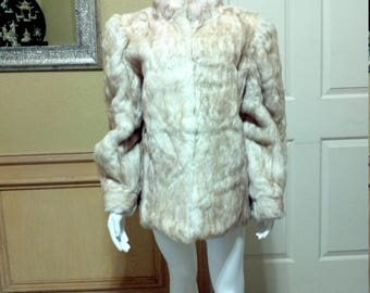 Vintage White and Tan Dyed Rabbit Shaggy Fur Jacket.Street Real Rabbit Fur Womens Coat. Fancy Ladies Fur Coat. 80s Glam Style  size M