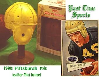 1940 Mini Pittsburgh Steelers Leather Football Helmet (1/3 scale)