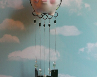 Flying Pig Windchime with Stained Glass Chimes