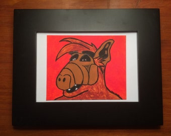 Alf Portrait #1  - an original painting of our beloved 80s tv alien - framed and ready to display