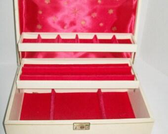 Vintage Jewelry Box Ivory 3 Tier Box Red Interior Key Included Dresser Decor Jewelry Storage