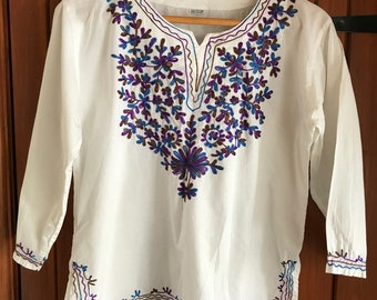 Indian Tunic Top Blue Purple White