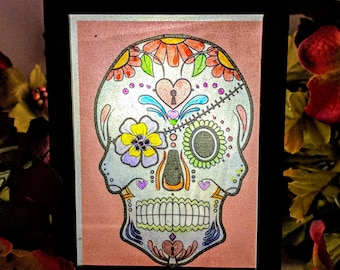 Hand Painted Sugar Skull LED Lantern(Eye Patch Edition)