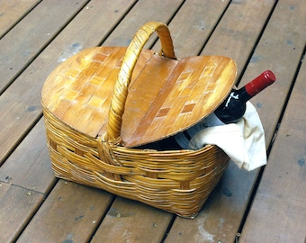 Wicker Picnic Basket, Wood Double Lid, 1950s Woven Storage Container, Vintage Basket, Travel Carrier, Rustic Cabin Cottage Chic Decor