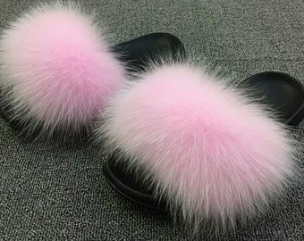 100% Authentic Fox Fur Pink Sliders Slippers Sandals On Trend Fashion Celebrity Wedding Summer Shoes