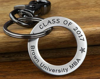 College Personalized Graduation, Masters Degree, Class of 2018 Keychain, College Student Gift, Graduation Keychain, Any text up to 35 Char