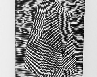 Crystal, abstract, geometric, print, art gift, wall decor, linocut, art , relief print,black & white