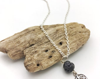 Essential Oil Diffuser Necklace - Simple Leaf Pendant - Lava Stone Jewelry - Boho Necklace - Short Silver Chain - Gift for Her