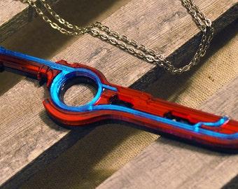 Handmade Acrylic Shulk Monado Charm Necklace