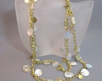 """Goldtone metal 38"""" long necklace with shell discs"""