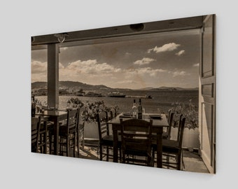 Relaxing lunch by the Aegean  Wood Print,1:50 Limited Edition / home decor / decoration / photo / photography / black and white /. view