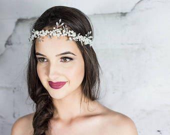 Swarovski Pearl Headband / Bridal Halo / Hair vine / Headpiece
