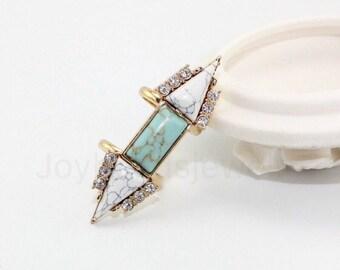 Multistone Ring,Turquoise Ring,Gemstone Ring,17mm  Ring
