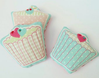 Three Cupcake Lavender Sachets, Trio of Cakes Lavender Bags, Drawer Scented Sachets