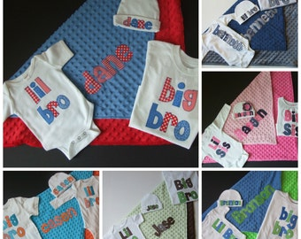 Coming home outfit - personalized bodysuit, beanie cap, and minky blanket, plus big bro/sis shirt in your choice of colors - Sibling shirts
