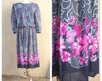 70s 80s dress ~ pleated, puff sleeves, blue purple pink ~ midi secretary dress, womens med large