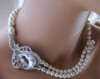 White pearl bridal necklace, South sea shell pearl with jew rhinestone brooch - Robin