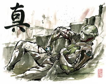8x10 PRINT Mass Effect Thane Krios Japanese Calligraphy TRUTH