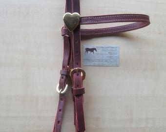 USA Western Headstall w BRASS Heart Bridle Conchos and buckles! Rose Lodge Equine Supply Exclusive ..