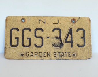 60s weathered New Jersey License Plate, Garden State, Industrial Decor, Automobilia, Beat Up Vintage NJ
