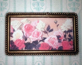 Miniature 1:12 Dollhouse Painting - Leon Jan Wyczolkowski - White, Pink and Red Roses