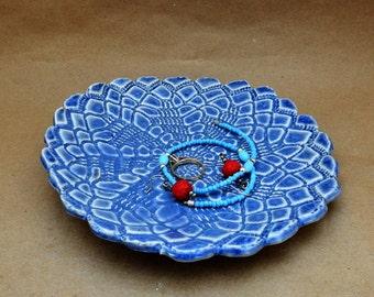Ring Dish, Trinket Dish, Jewellery Holder, Ring Catch, Medium Blue, Fiance Gift, Bridesmaid Gift
