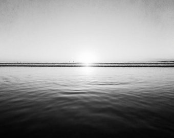"""Ocean Black And White Photography, Seascape, Ocean Landscape, Waves, Water, Dark Wall Art,  """"Reflecting Sun"""""""