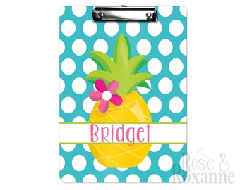 Personalized Pineapple Clipboard Blue Polka Dots | Back to School Gift | Teacher Gift