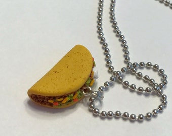 Taco Necklace, Polymer Clay Miniature Food Jewelry, Pendant