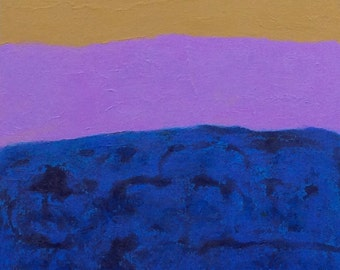 Abstract Painting - Artist with Autism - Purple Mustard Blue