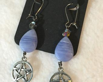 Blue Pentacle Earrings