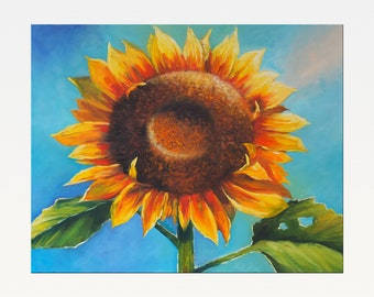 Sunflower - Original Oil Painting on Canvas - Flower - Modern Art
