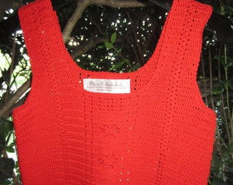 Handcrochet Red Camisole, Luxe French Cotton Cami, Scoop Neckline, Current Trend, Spring to Summer Fashion, Model Size 0 to 6, Women & Teens