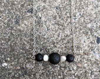 Aromatherapy Jewelry - Essential Oil Diffuser Necklace - Minimalist Necklace - Black Lava Bead Necklace - Lava Stone Bar Necklace - Gift