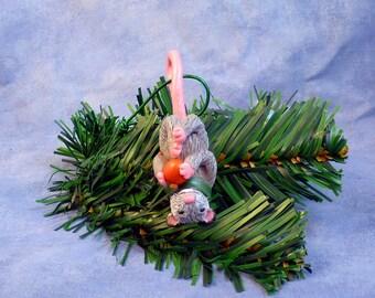 Xmas Opossum and Red Ball Ornament - Handmade Christmas Decoration