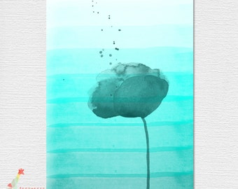 PDF Download Blue Ombre Watercolor Flower Poster